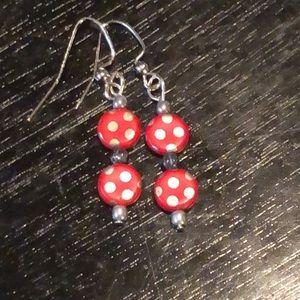 ❤️red Czech glass earrings
